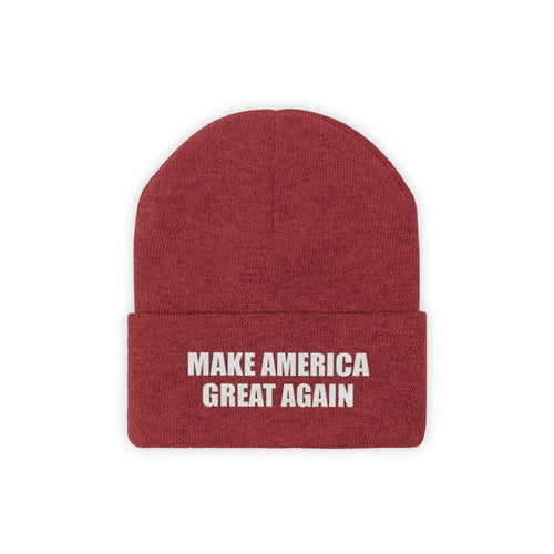 Printify Winter Hats True Red / One size MAKE AMERICA GREAT AGAIN White Text Acrylic Knit Beanie (11 Variants)