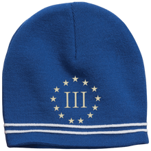 Load image into Gallery viewer, CustomCat Winter Hats True Royal/White / One Size III% Stars STC20 Colorblock Beanie (3 Variants)
