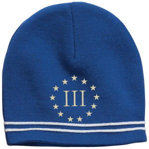 CustomCat Winter Hats True Royal/White / One Size III% Stars STC20 Colorblock Beanie (3 Variants)
