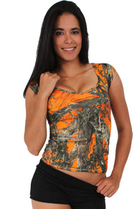 American Patriots Apparel XL / ORANGE Women's Camo V-Neck Shirt True Timber Camouflage Blouse Made in the USA
