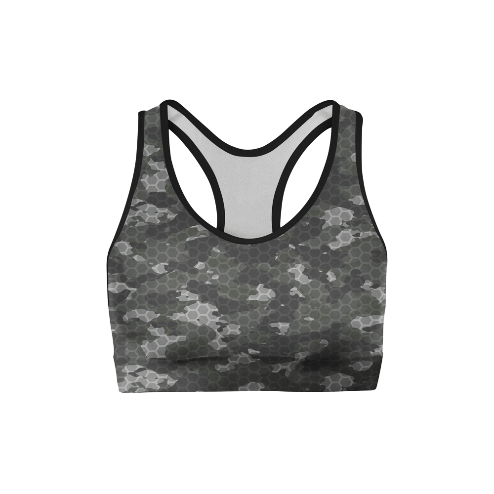 American Patriots Apparel XS / Multicolored Black Hex Camo Sports Bra