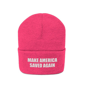 MAKE AMERICA SAVED AGAIN White Text Acrylic Knit Beanie (11 Variants) - American Patriots Apparel