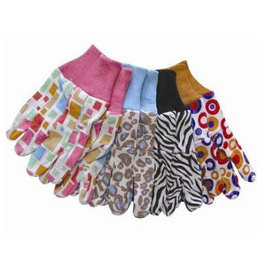 calico 100% cotton eco gardening gloves with pattern