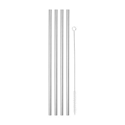 Zero Waste Store Australia Drinking Straws reusable Stainless Steel 6mm Straight 4PK with Cleaning Brush