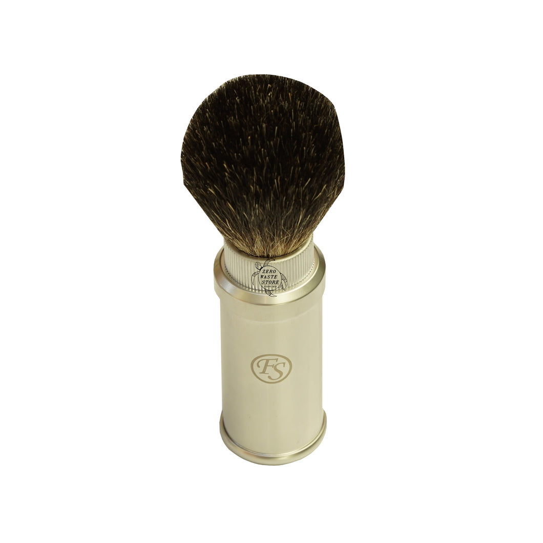 Frank Shave Black Badger Hair Travel Shaving Brush