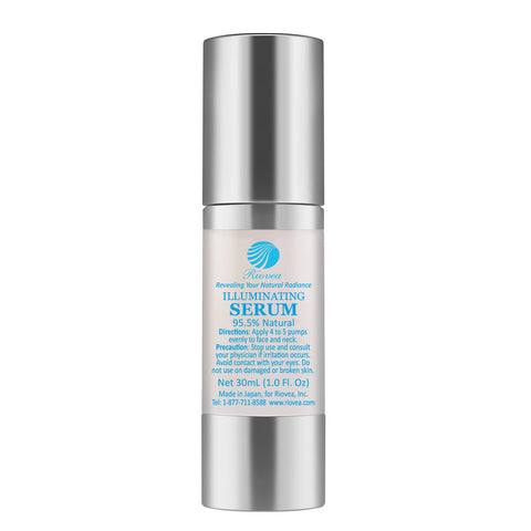 Riovea's Natural Skin Brightening Illuminating Serum Without Bleaching Chemicals Hydroquinone, Arbutin or Kojic Acid.