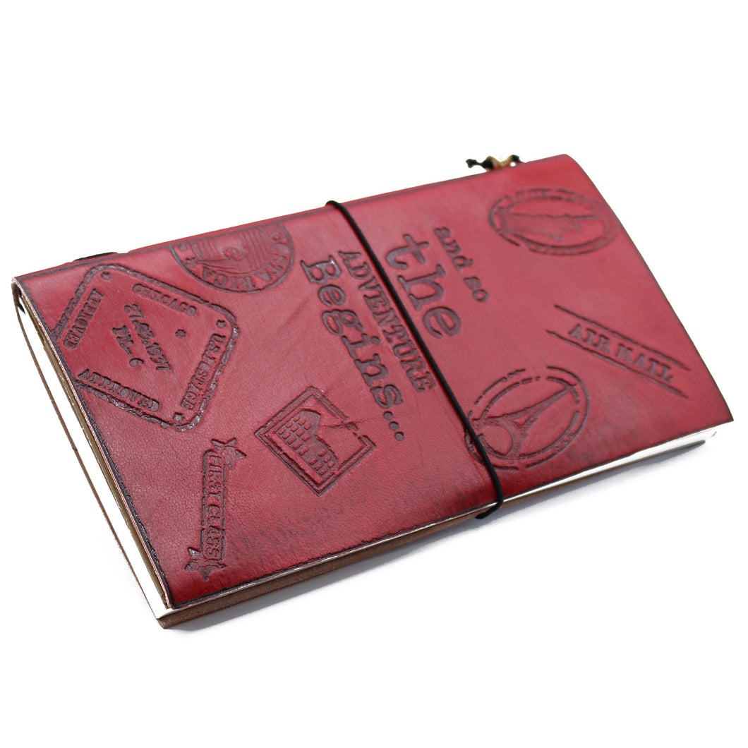 Handmade Leather Journal- The Adventure Begins - Red - (80 pages)-Stationary-SmartMugCo