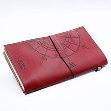 Load image into Gallery viewer, Handmade Leather Journal- The Adventure Begins - Red - (80 pages)-Stationary-SmartMugCo