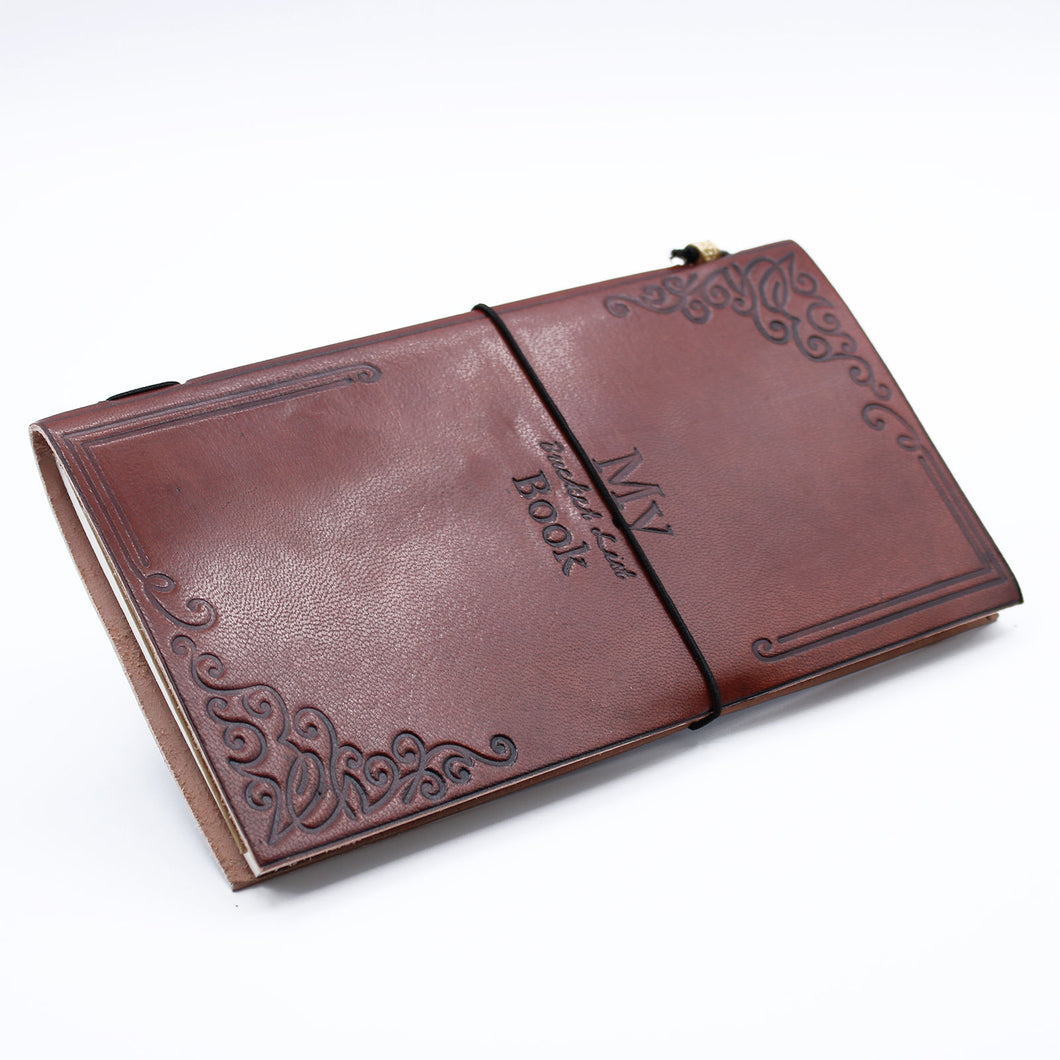 Handmade Leather Journal - My Bucket List Book - Brown (80 pages)-Stationary-SmartMugCo