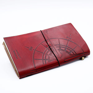 Handmade Leather Journal - Little Book of Big Plans - Red (80 pages)-Stationary-SmartMugCo