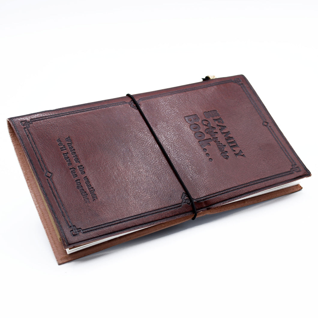 Handmade Leather Journal - Our Family Adventure Book - Brown (80 pages)-Stationary-SmartMugCo