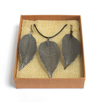 Necklace & Earring Set - Bravery Leaf - Pewter-Gifts-SmartMugCo