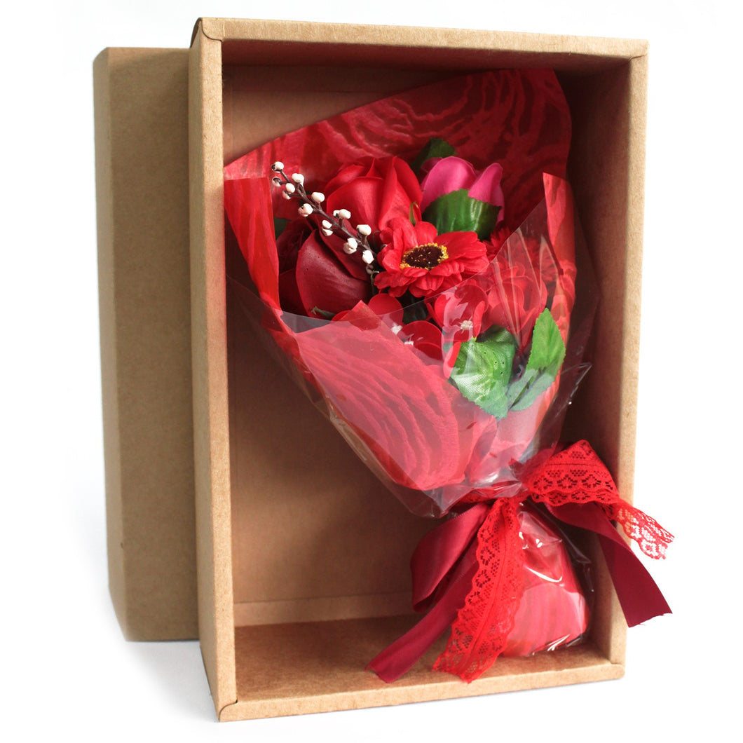 Boxed Hand Soap Flower Bouquet- Red-Bath & Body-SmartMugCo