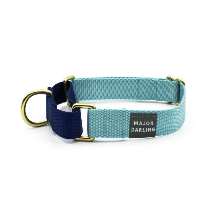 martingale collar / ice blue + navy