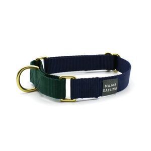 martingale collar / navy + evergreen