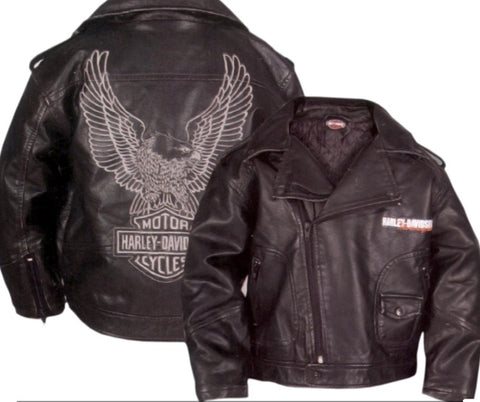 H-D Boys' Faux Leather Biker Jacket