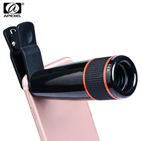 APEXEL APL - 12XSJ Universal External12X Telephoto Zoom Lens Shutterbug Necessary for iPhone Samsung Xiaomi ZTE Notebook PC