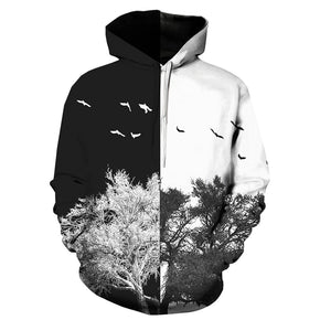 Hooded 3D Color Block Tree Print Pullover Hoodie