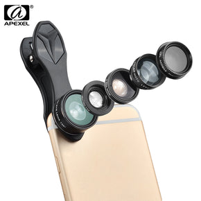 APEXEL APL - DG5 5 in 1 Camera Phone Lens Kit 198 Degree Fisheye 0.65X Wide Angle 15X Macro 2X Telephoto Polarizer Shutterbug Necessary for iPhone Samsung Xiaomi ZTE Notebook PC