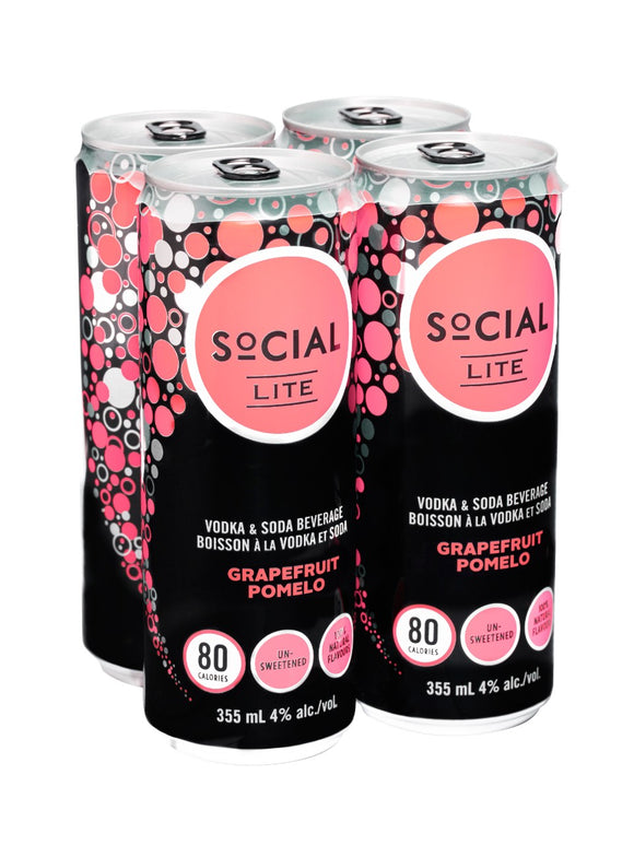 Social Lite Grapefruit Pomelo Vodka Soda 4x355 mL can