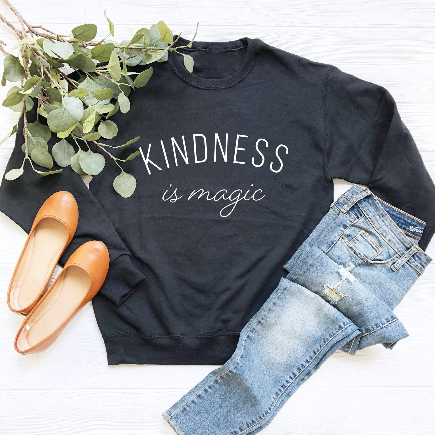 Kindness is Magic Crewneck Sweatshirt (White Curved Text)