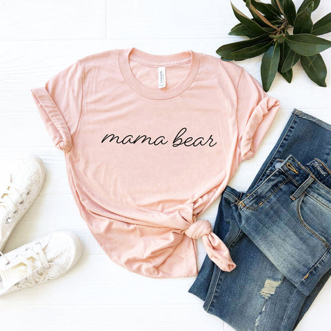 Mama Bear T-Shirt (Black Handwritten Text)