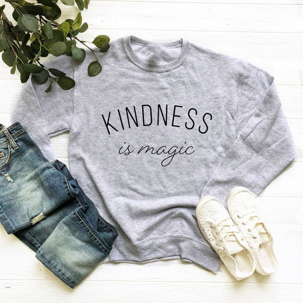 Kindness is Magic Crewneck Sweatshirt (Black Curved Text)