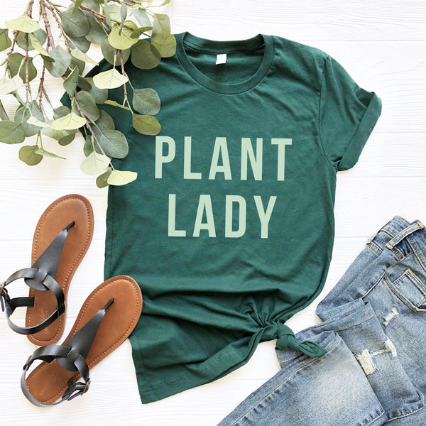 Plant Lady T-Shirt (Light Green Block Text)