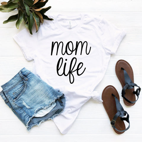 Mom Life T-Shirt (Black Handwritten Text)