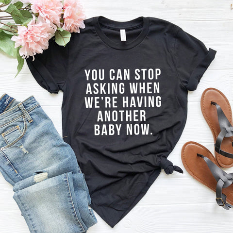 Having Another Baby T-Shirt (Block Text)