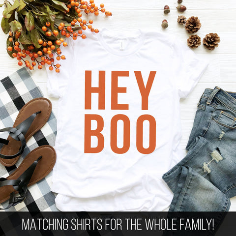 Hey Boo T-Shirt (Orange Text)