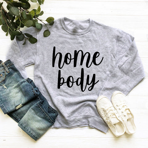 Homebody Sweatshirt (Black Handwritten Text)