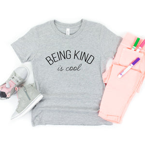 Being Kind Is Cool Youth T-Shirt (Curved Black Text)