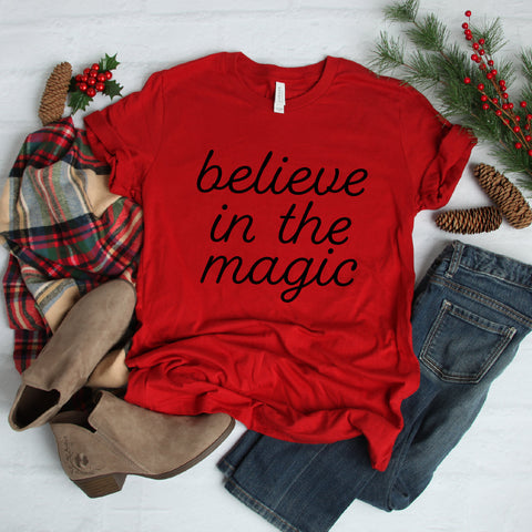 Believe In The Magic T-Shirt (Black Handwritten Text)