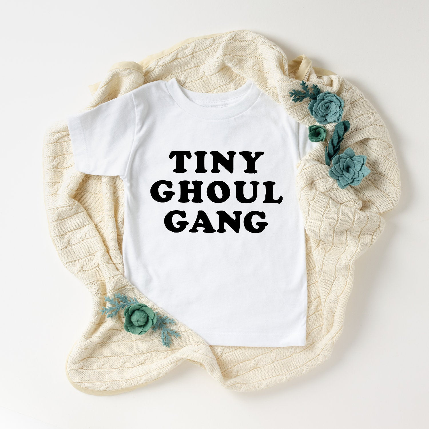 Tiny Ghoul Gang Toddler T-Shirt (Black Text)