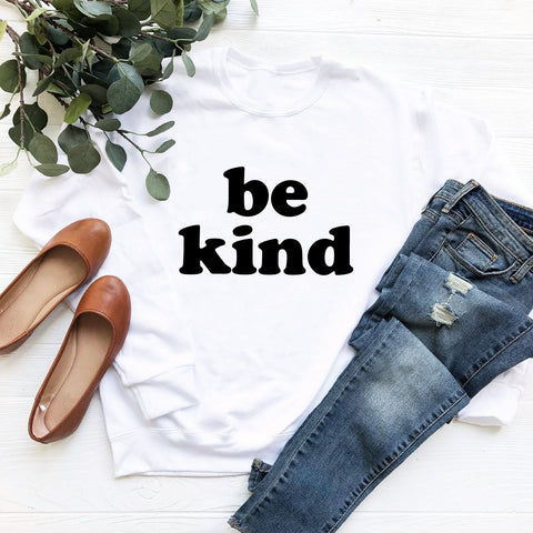 Be Kind (Black Groovy Text) Sweatshirt
