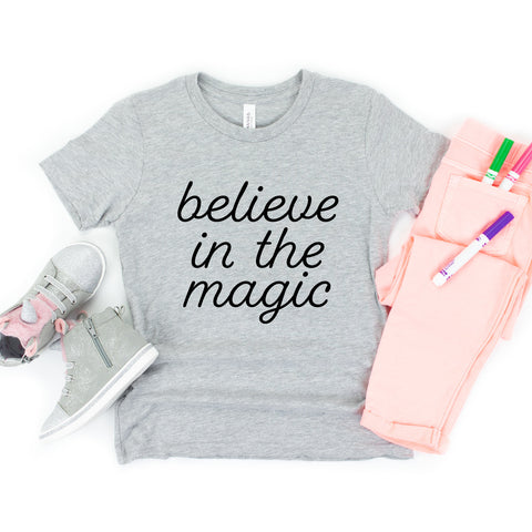 Believe In The Magic Youth T-Shirt (Black Handwritten Text)
