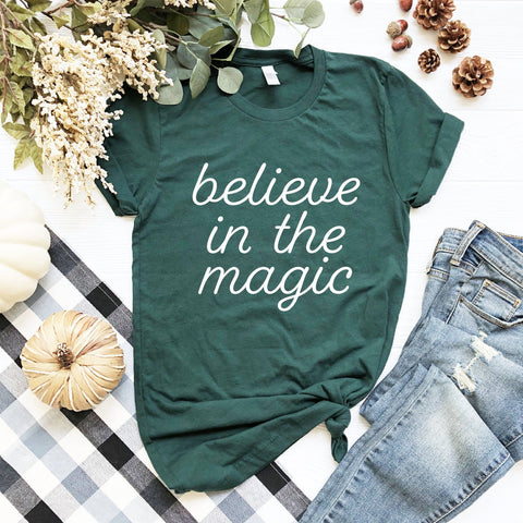 Believe In The Magic T-Shirt (White Handwritten Text)