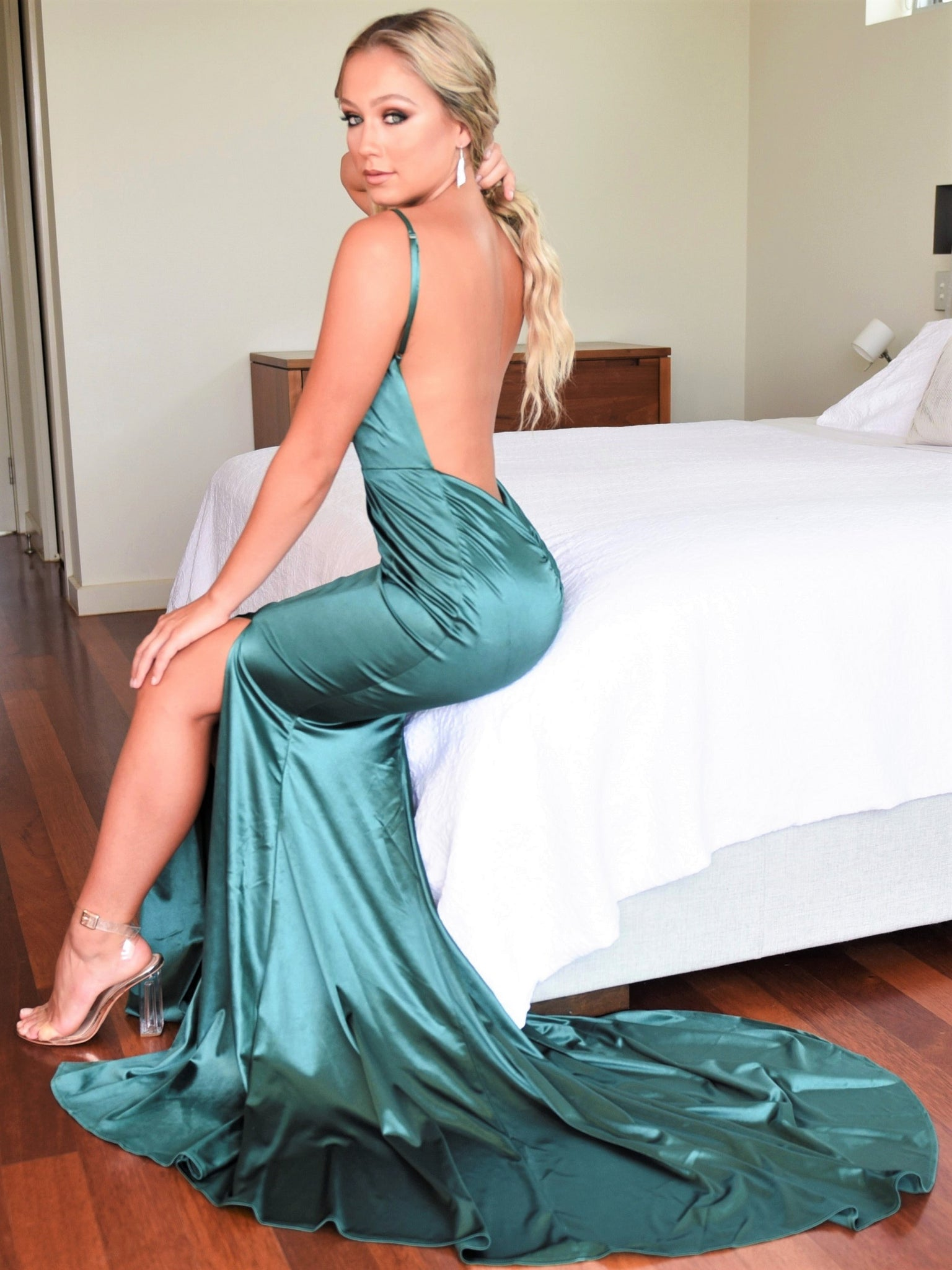 Emerald Backless Gown Hire