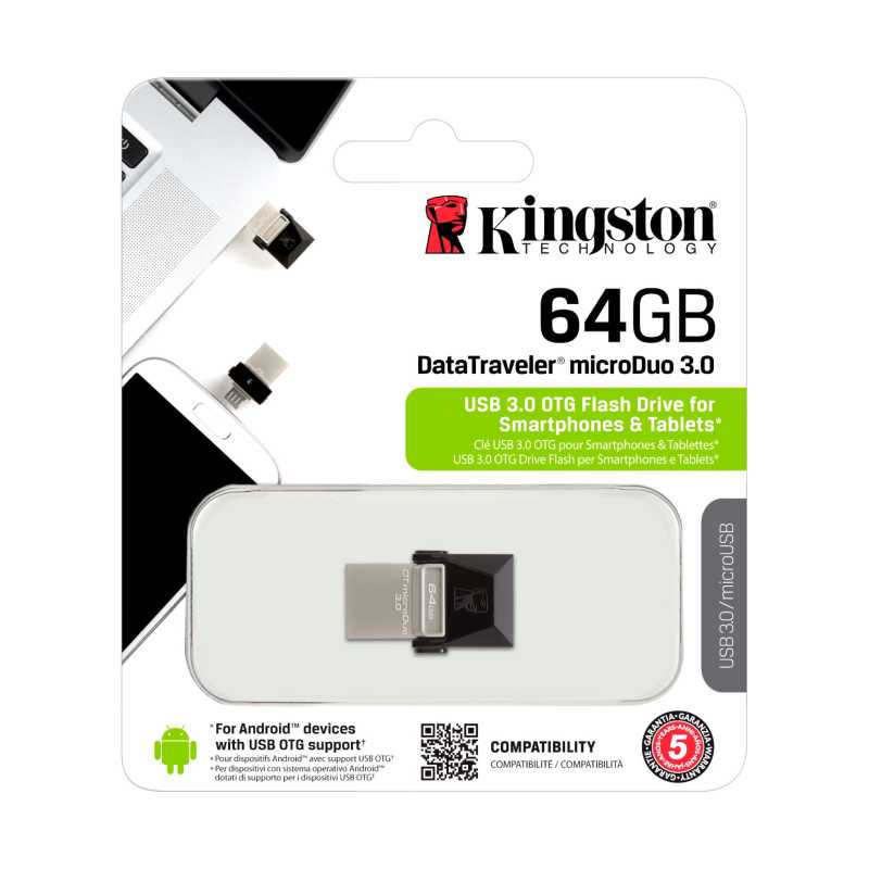 Kingston 64GB Dual USB Hi-Speed DataTraveler Micro