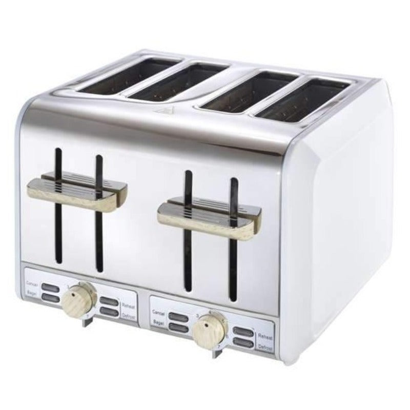 Russell Hobbs RHWWT01 4 Slice White & Wood Toaster