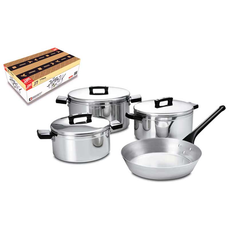 J7 Hart 7 Piece Pot Set 175 / 200 / 225mm Casseroles with lids and M8 230mm Frypan