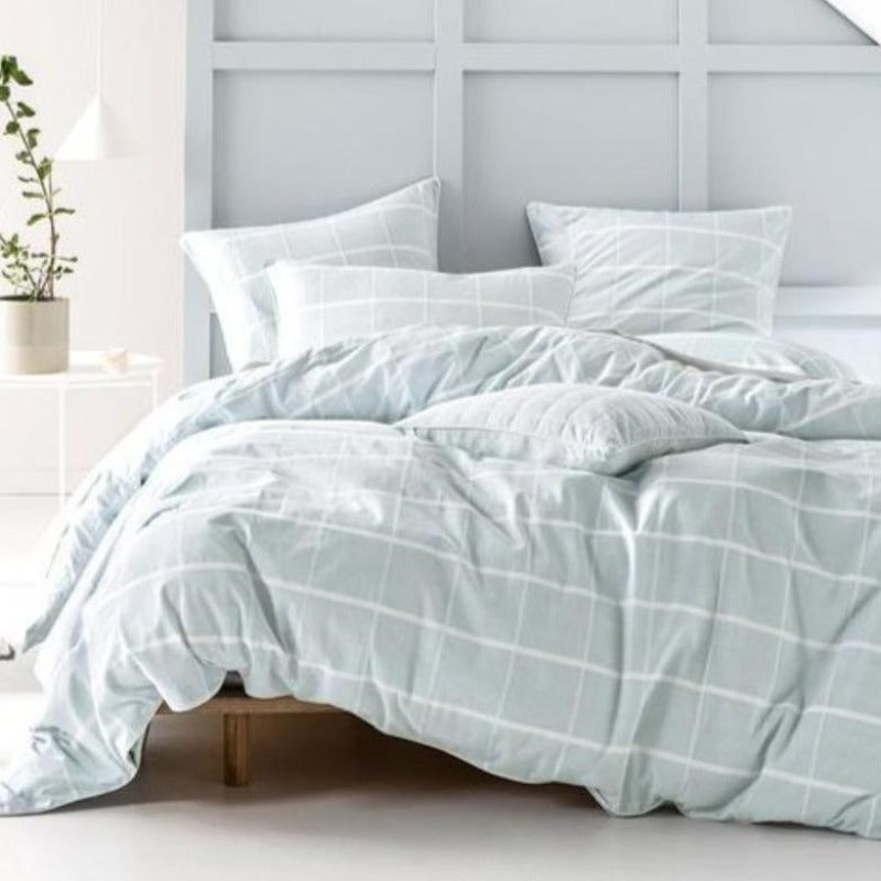 Linen House Leonard Duvet Cover Set - Aqua