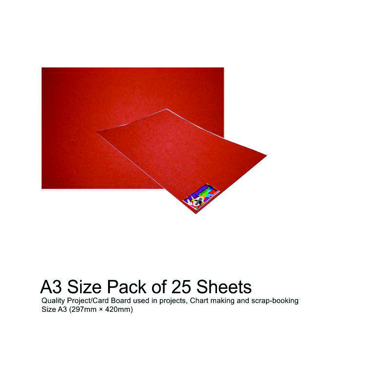 A3 Project Boards 25 Sheets Red