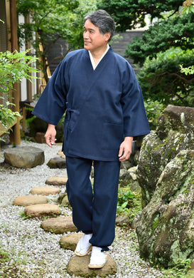 Japanese Zen Buddhist Monk Men's Work Clothing – Samue – Authentic and Used in Japanese Temples – Spring/Autumn Fabric Thickness – Navy Blue