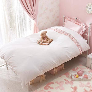 Romantic Princess (Romapri) Pompon Frill Comforter Cover – Single Bed Size – White