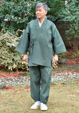 Japanese Zen Buddhist Monk Men's Work Clothing – Enshu Shijira Samue – Authentic and Used in Japanese Temples – Spring/Summer Fabric Thickness – Green