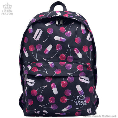 LISTEN FLAVOR Cherry Temptation Pattern Backpack – Black – Straight Outta Harajuku