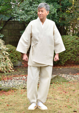 Japanese Zen Buddhist Monk Men's Work Clothing – Enshu Shijira Samue – Authentic and Used in Japanese Temples – Spring/Summer Fabric Thickness – Beige