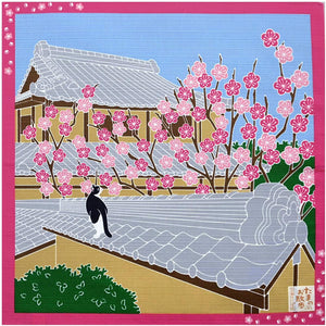 Ko-Furoshiki Japanese Traditional Wrapping Cloth & Decoration – Tama the Cat's Shantan Spring Walk